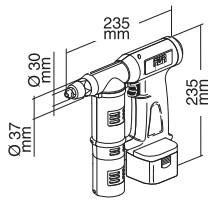 充电式铆钉枪EB311尺寸图