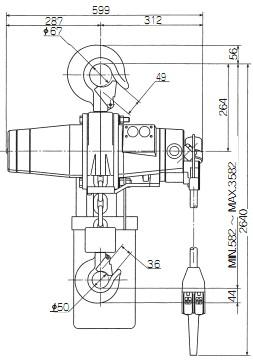 ENDO气动葫芦EHL-3TS尺寸图